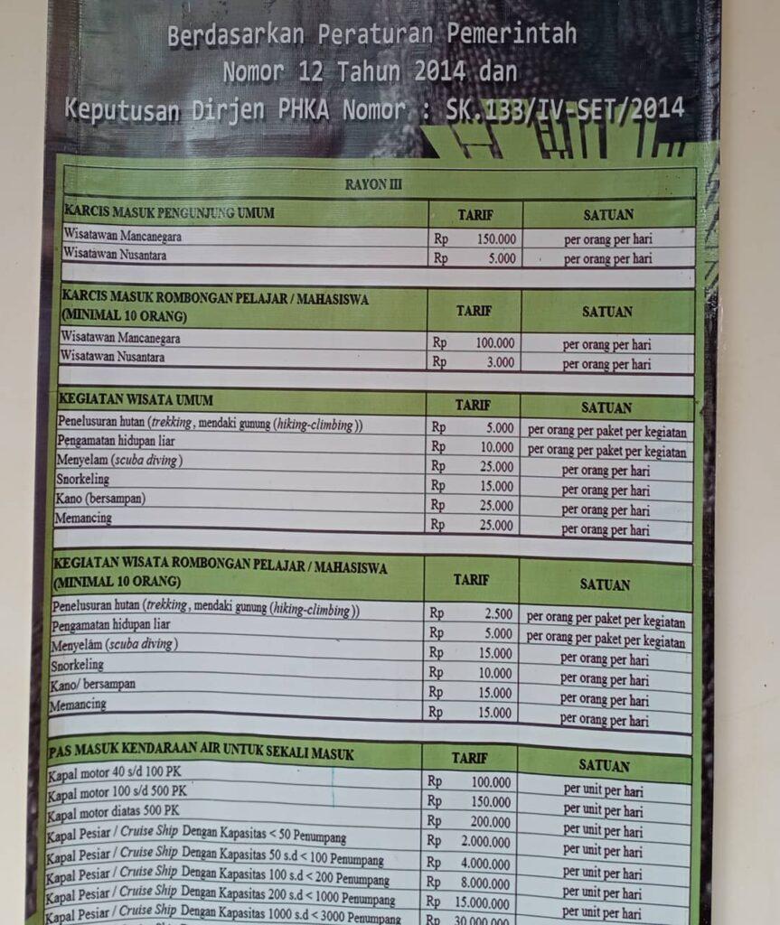 daftar harga tiket wisata taman nasional komodo